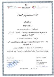 Podziekowania Ewa Jeziak CSR PCZ